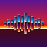 80s styled chrome sound wave. 80s styled sound wave. 1980 chrome design royalty free illustration