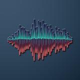 80s styled chrome sound wave. 80s styled sound wave. 1980 chrome design stock illustration