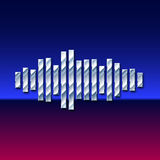 80s styled chrome sound wave. 80s styled sound wave. 1980 chrome design Royalty Free Stock Photography