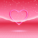 80s styled retro futuristic card with neon heart in computer  Royalty Free Stock Images