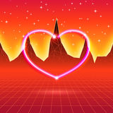 80s styled retro futuristic card with neon heart in computer wor Royalty Free Stock Photo
