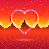 80s styled retro futuristic card with neon heart in computer wor. 80s styled retro futuristic card with neon heart Stock Photography