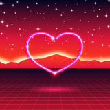 80s styled retro futuristic card with neon heart in computer world Royalty Free Stock Photo
