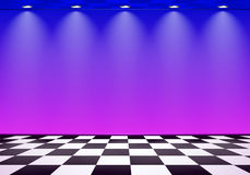 80s styled vapor wave room with blue and purple wall over checked floor Stock Images