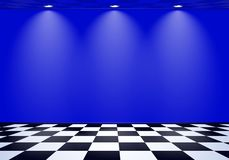 80s styled vapor wave room with blue wall over checked floor. 80s styled vapor wave room with blue wall stock illustration