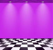 80s styled vapor wave room with purple wall over checked floor. 80s styled vapor wave room with purple wall vector illustration