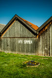 It's Summer!. A message written on a wooden hut at the beginning of summer Royalty Free Stock Photos