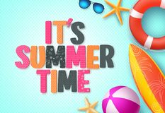 It`s summer time background banner template with colorful 3D summer text. And beach elements in blue pattern background for summer season. Vector illustration Royalty Free Stock Image