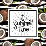 It`s summer time. Coconut pattern Stock Photos