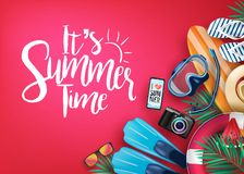 It`s Summer Time Realistic Vector Banner in Red Background and Tropical Elements. Like Scuba Diving Equipment, Surf Board, Slippers, Digital Camera, Mobile stock illustration