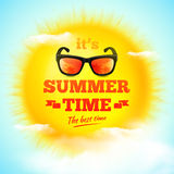 It's Summer Time typographic inscription with sunglasses on 3D realistic sun and clouds. Vector Illustration stock illustration