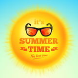 It's Summer Time typographic inscription with sunglasses on 3D realistic sun. Vector Illustration Stock Image
