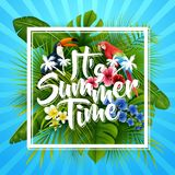 It`s summer time typography. striped background with tropical plants, flowers, palm leaves and parrot. Illustration of It`s summer time typography. striped Royalty Free Stock Photography