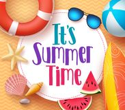 It`s summer time vector banner design template with colorful beach elements Royalty Free Stock Photography