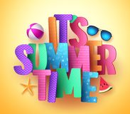 It`s summer time vector banner greeting design with colorful text typography Stock Photo