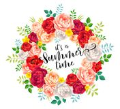 It`s a Summer time vector calligraphic lettering in bright summer flowers wreath on white background Royalty Free Stock Images