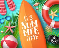 It`s summer time vector design concept. Summer text in surfboard with beach elements. Like lifebuoy, seashells and palm leaves in blue wooden textured stock illustration