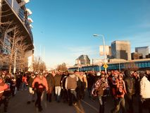It`s a sunny Sunday and people are walking to see the Cleveland Browns - OHIO. The Cleveland Browns are a professional American football team based in Cleveland royalty free stock images