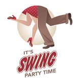 It`s swing party time: Legs of man and woman wearing retro clothes and shoes dancing. Jazz, swing, rock or lindy-hop stock illustration