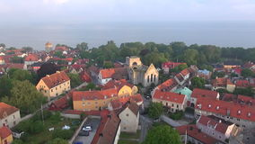 S:t Clemens ruin in the old Hansa town Visby on Gotland in Sweden,Aerial Stock Images