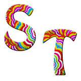 S, T, ilustração colorida da pia batismal da onda. Foto de Stock