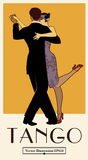1920s Tango Poster. Elegant couple dancing tango. Retro style Stock Photography