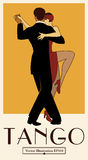 1920s Tango Poster. Elegant couple dancing tango. Royalty Free Stock Photography