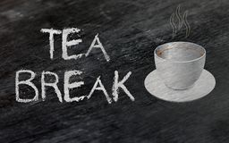 It`s Tea break - Resting Concept. Tea break text written on chalkboard and coffee cup is graphically generated Stock Images
