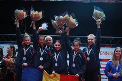 ` S Team European Champion 2017 de la muchacha de Rumania Imagenes de archivo