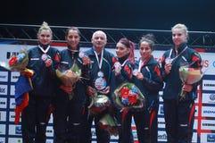 ` S Team European Champion 2017 de la muchacha de Rumania Fotografía de archivo