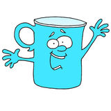 It`s telling something blue cup. Drinking Royalty Free Stock Photo