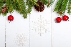 ` S, tema del Año Nuevo de la Navidad El abeto verde ramifica con los conos, bayas decorativas en el fondo de madera blanco Imágenes de archivo libres de regalías