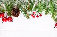 ` S, tema del Año Nuevo de la Navidad El abeto verde ramifica, las bayas decorativas en el fondo de madera blanco Fotos de archivo