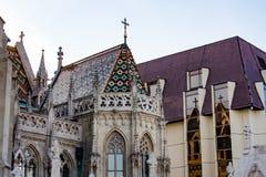 S-templom do ¡ do tyà do ¡ da igreja Mà do St Matthias - detalhe da arquitetura foto de stock