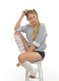 1980's themed shoot - dancer with leg warmers Stock Photos