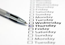 It's Thursday today. Thursday checked in check box in a row of days of the week Stock Image