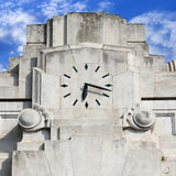It's time. Old clock on railway station Royalty Free Stock Photography