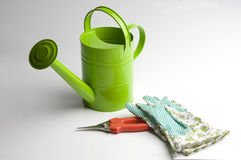 It's time for gardening!. Gardening tools, isolated on white Stock Photos