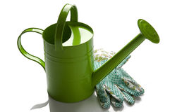 It's time for gardening!. Gardening tools, isolated on white Stock Image
