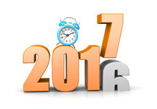 It`s Time For. Orange 2017 Year Number Text on Top of 2016 with Blue Alarm Clock on White Background 3D Illustration. Time Passes Concept Stock Images
