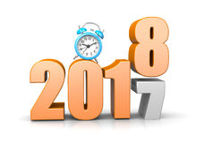 It`s Time For. Orange 2018 Year Number Text on Top of 2017 with Blue Alarm Clock on White Background 3D Illustration. Time Passes Concept Stock Photo