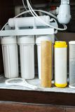 It`s time to change water filters at home.  Replace filters in water purifying system. Close up view. Of three used filters. Clean water at home stock photography