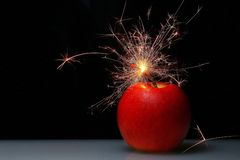 It`s time to countdown fire apple bomb. 3 2 1 royalty free stock image
