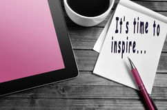 It's time to inspire... It's time to inspire text write on notebook royalty free stock photo