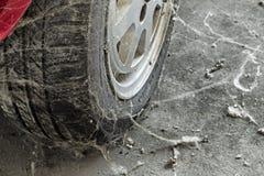 80's tire among cobwebs Royalty Free Stock Image