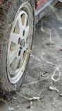 80's tire among cobwebs Royalty Free Stock Photos