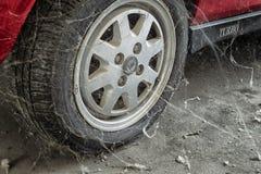 80's tire among cobwebs Stock Photo