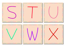 S to X alphabets, vector set 4 Stock Images
