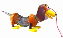 Disney Pixar Toy Story Slinky Toy Dog White Background. 1950s toy made famous again in the Pixar animation movie Toy Story. Slinky Dog better known as Slinky is royalty free stock photos
