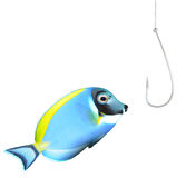 It's a trap!. A tropical fish looking at a hook isolated on a white background Royalty Free Stock Photo